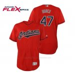 Camiseta Beisbol Hombre Cleveland Indians Trevor Bauer Flex Base Autentico Collection Alternato 2019 Rojo