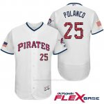 Camiseta Beisbol Hombre Pittsburgh Pirates 2017 Estrellas y Rayas Gregory Polanco Blanco Flex Base