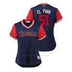 Camiseta Beisbol Mujer Los Angeles Angels Jaime Barria 2018 Llws Players Weekend El Pana Azul