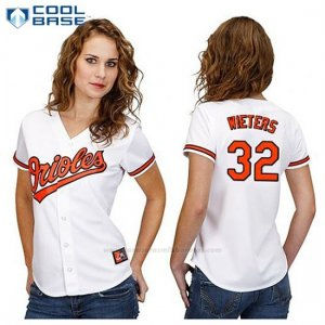 Camiseta Beisbol Mujer Baltimore Orioles 32 Matt Wieters Blanco Cool Base