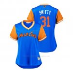Camiseta Beisbol Mujer Miami Marlins Caleb Smith 2018 Llws Players Weekend Smitty Light Toronto Blue Jays