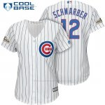Camiseta Beisbol Mujer Chicago Cubs 2017 Postemporada 12 Kyle Schwarber Blanco Cool Base