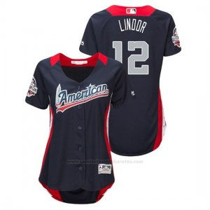 Camiseta Beisbol Mujer All Star Game Francisco Lindor 2018 1ª Run Derby American League Azul