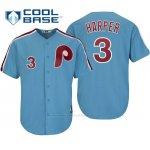 Camiseta Beisbol Hombre Philadelphia Phillies Bryce Harper Cool Base Cooperstown Collezione Azul