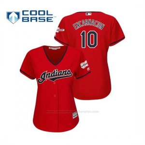 Camiseta Beisbol Mujer Cleveland Indians Edwin Encarnacion 2019 All Star Game Patch Cool Base Rojo