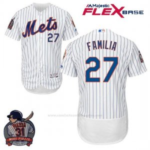Camiseta Beisbol Hombre New York Mets Jeurys Familia Blanco Flex Base With Piazza