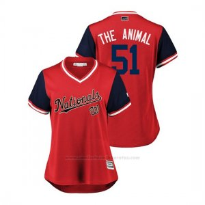 Camiseta Beisbol Mujer Washington Nationals Wander Suero 2018 Llws Players Weekend The Animal Rojo