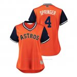 Camiseta Beisbol Mujer Houston Astros George Springer 2018 Llws Players Weekend Springer Orange