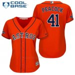 Camiseta Beisbol Mujer Houston Astros 2017 World Series Campeones Brad Peacock Naranja Cool Base