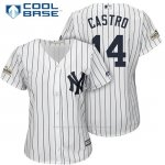Camiseta Beisbol Mujer New York Yankees 2017 Postemporada Starlin Castro Blanco Cool Base