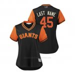 Camiseta Beisbol Mujer San Francisco Giants Derek Holland 2018 Llws Players Weekend Last Name Negro