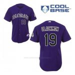 Camiseta Beisbol Hombre Colorado Rockies Charlie Negromon 19 Violeta Alterno Cool Base