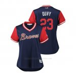 Camiseta Beisbol Mujer Atlanta Braves Adam Duvall 2018 Llws Players Weekend Duvy Azul
