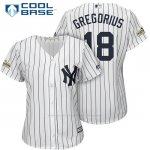 Camiseta Beisbol Mujer New York Yankees 2017 Postemporada Didi Gregorius Blanco Cool Base