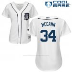 Camiseta Beisbol Mujer Detroit Tigers 34 James Mccann Blanco Autentico Coleccion Cool Base