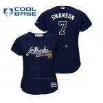 Camiseta Beisbol Mujer Atlanta Braves Dansby Swanson Cool Base Alternato Azul