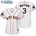 Camiseta Beisbol Mujer Houston Astros 2017 World Series Campeones Cameron Maybin Blanco Cool Base