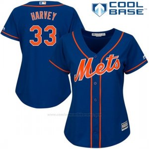 Camiseta Beisbol Mujer New York Mets Matt Harvey Cool Base Royal