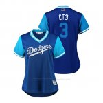 Camiseta Beisbol Mujer Los Angeles Dodgers Chris Taylor 2018 Llws Players Weekend Ct3 Royal
