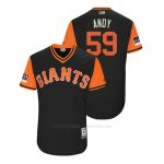 Camiseta Beisbol Hombre San Francisco Giants Andrew Suarez 2018 Llws Players Weekend Andy Negro