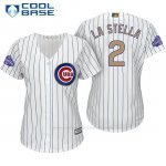 Camiseta Beisbol Mujer Chicago Cubs 2 Tommy La Stella Blanco Oro Program Cool Base
