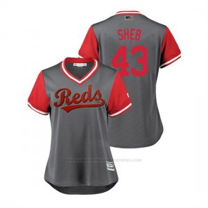 Camiseta Beisbol Mujer Cincinnati Reds Scott Schebler 2018 Llws Players Weekend Sheb Gris