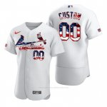 Camiseta Beisbol Hombre St. Louis Cardinals Personalizada Stars & Stripes 4th of July Blanco