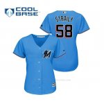 Camiseta Beisbol Mujer Miami Marlins Dan Straily Cool Base Majestic 2019 Azul