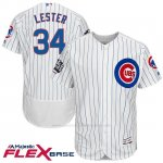 Camiseta Beisbol Hombre Chicago Cubs 34 Jon Lester Blanco 2016 World Series Champions Flex Base