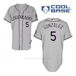 Camiseta Beisbol Hombre Colorado Rockies Carlos Gonzalez 5 Gris Cool Base