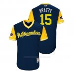 Camiseta Beisbol Hombre Milwaukee Brewers Erik Kratz 2018 Llws Players Weekend Kratzy Azul