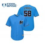 Camiseta Beisbol Hombre Miami Marlins Dan Straily Cool Base Majestic Alternato 2019 Azul