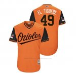 Camiseta Beisbol Hombre Baltimore Orioles Gabriel Ynoa 2018 Llws Players Weekend El Tiguere Orange