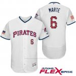 Camiseta Beisbol Hombre Pittsburgh Pirates 2017 Estrellas y Rayas Starling Marte Blanco Flex Base