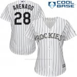 Camiseta Beisbol Mujer Colorado Rockies 28 Nolan Arenado Blanco Cool Base