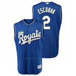 Camiseta Beisbol Hombre Kansas City Royals Alcides Escobar Throwback Turn Ahead Azul