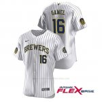 Camiseta Beisbol Hombre Milwaukee Brewers Ben Gamel Autentico 2020 Primera Blanco