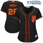 Camiseta Beisbol Mujer San Francisco Giants 28 Buster Posey Negro 2017 Cool Base