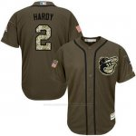 Camiseta Beisbol Hombre Baltimore Orioles 2 J.j. Hardy Verde Salute To Service