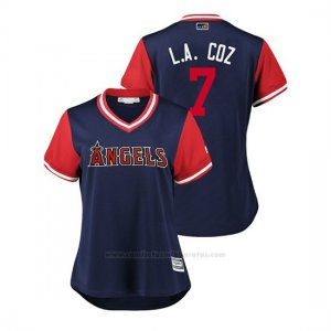 Camiseta Beisbol Mujer Los Angeles Angels Zack Cozart 2018 Llws Players Weekend L.a. Coz Azul