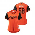 Camiseta Beisbol Mujer Baltimore Orioles Evan Phillips 2018 Llws Players Weekend Philly Orange