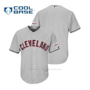 Camiseta Beisbol Hombre Cleveland Indians 2019 All Star Game Patch Cool Base Road Personalizada Gris