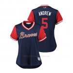 Camiseta Beisbol Mujer Atlanta Braves Freddie Freeman 2018 Llws Players Weekend Andrew Azul