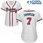 Camiseta Beisbol Mujer Atlanta Braves 7 Dansby Swanson Blanco Cool Base