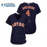 Camiseta Beisbol Mujer Houston Astros George Springer Cool Base Alternato Azul