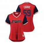 Camiseta Beisbol Mujer Cleveland Indians Carlos Carrasco 2018 Llws Players Weekend Cookie Rojo