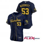 Camiseta Beisbol Hombre Milwaukee Brewers Brandon Woodruff Autentico 2020 Alternato Azul