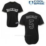 Camiseta Beisbol Hombre Colorado Rockies Carlos Gonzalez 5 Negro Fashion Cool Base