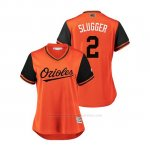Camiseta Beisbol Mujer Baltimore Orioles Danny Valencia 2018 Llws Players Weekend Slugger Orange