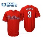 Camiseta Beisbol Nino Philadelphia Phillies Bryce Harper Cool Base Majestic Replica Rojo